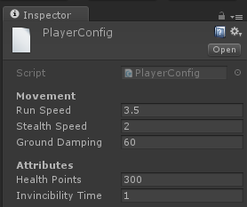 PlayerConfig instance at the Inspector